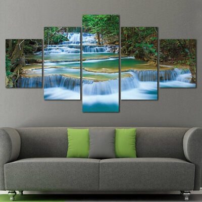 Large Peaceful Waterfall 5 Panels Modern Canvas Print Artwork Landscape Pictures