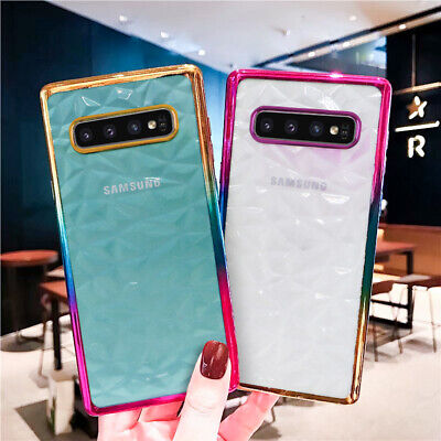 For Samsung Galaxy A30 A50 A70 S10 Plating Crystal Rubber Soft Clear Case Cover