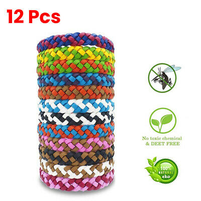 Natural 12pcs Anti Mosquito Repellent Bracelet Pest Insect Bugs Repeller Band