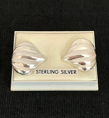 Vintage Sterling Silver Large Flame Earrings ~ New old Stock ~ Original Box