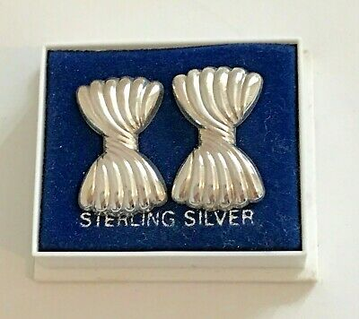 Vintage Sterling Silver Large Bow Earrings ~ New old Stock ~ Original Box