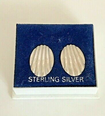 Vintage Sterling Silver Shell Earrings ~ New old Stock ~ Original Box