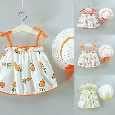 Toddler Kids Baby Girls Carrot Printed Casual Princess Dress Hat Set Clothing LC