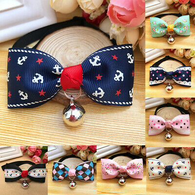 Bowknot Metal Bell Pendant Fashion Printed Pet Dog Cat Puppy Bow Tie Collar Cute