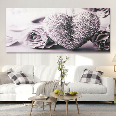 Grey Heart Rose Wall Art Painting Frameless Canvas Pictures Decor 45x80cm AU