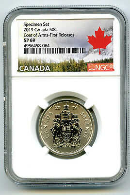 2019 Canada 50 Cent Ngc Sp69 First Releases Frosted Half Dollar Coat Of Arms !