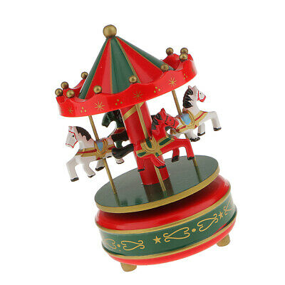 Vintage Horse Carousel Music Box Kids Wind Up Toy Kid Table Decor Red Green