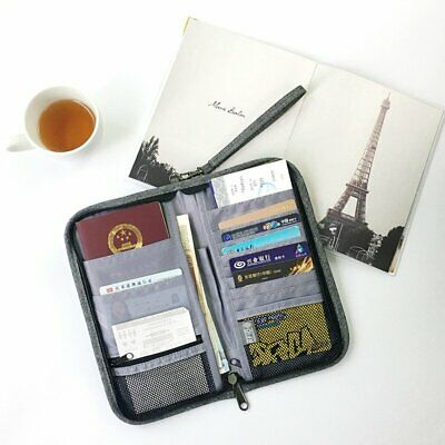 Travel Wallet Ticket Holder with RFID Blocking Cover for Passport Credit Card DS