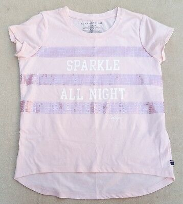 TOMMY HILFIGER Girls Pastel Pink Sequin Bands Short Sleeved T Shirt 16 Years