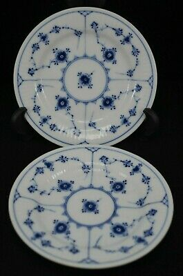 Two Royal Copenhagen Blue And White Fluted 5.75 Inch Plates 182 (Lace)