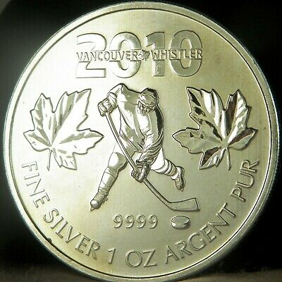 2010 1 oz Canadian .9999 Silver Maple Leaf $5 Coin Vancouver Whistler