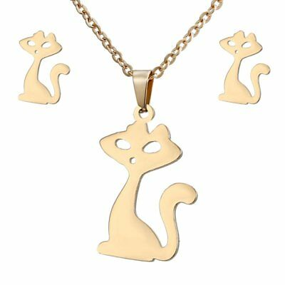 Cat Animals Pendant Necklaces Earrings Ear Stud Stainless Steel Jewelry Set Gift