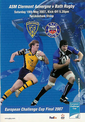 CLERMONT AUVERGNE v BATH 19 May 2007 CHALLENGE CUP FINAL RUGBY PROGRAMME