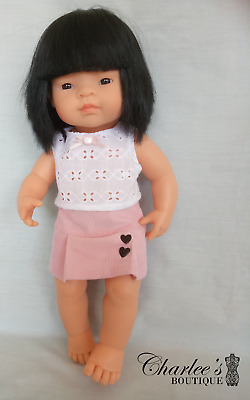 Miniland 38cm doll clothes pink corduroy skirt  and white top (Made in Perth)