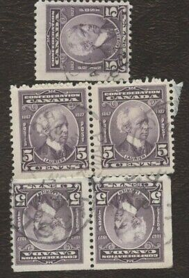 Stamps Canada # 144, 5¢, 1927, lot of 5 used stamps.