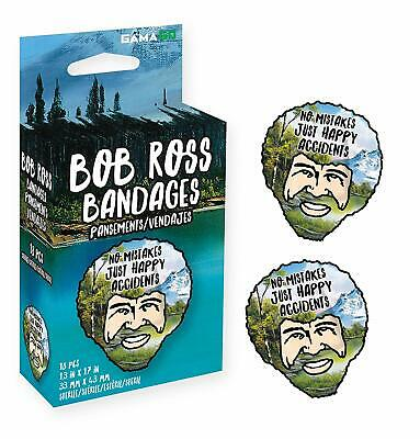 """Bob Ross Illustrated Bandages """"No Mistakes Just Happy Accidents"""""""