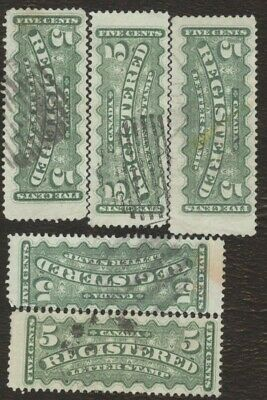 Stamps Canada # F2, 5¢ 1875-88, lot of 5 used stamps.