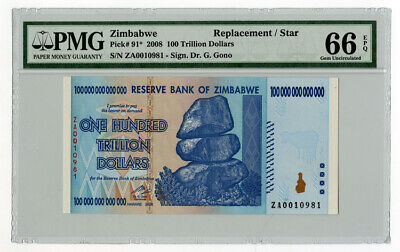 Reserve Bank of Zimbabwe, 2008 Replacement Star Note $100 Trillion, P-91*