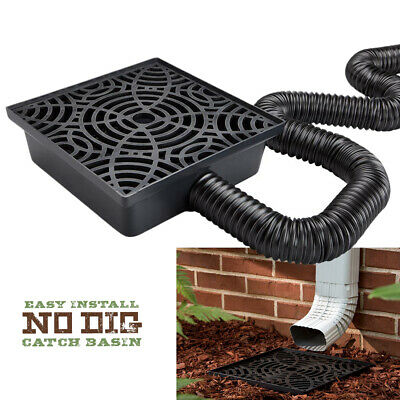 12 Inch No Dig Low Profile Catch Basin Downspout Extension Kit, Black