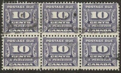 Stamps Canada # J14, 10¢ 1933-34, 1 block of 6 used stamps.