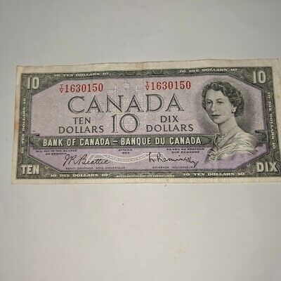 1954 Bank Of Canada $10.00 Banknote