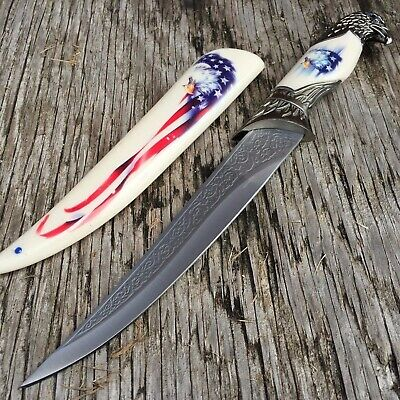 """13"""" Eagle Dagger Fixed Blade Hunting Knife With Scabbard Collectors G"""