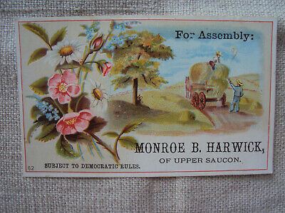 Democrat Candidate for Pennsylvania Assembly Monroe Harwick Upper Saucon 1870s ?
