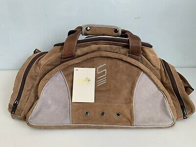 Scully 901 Brown/Gray-Blue Suede Leather Duffel Bag w/Detached Tag