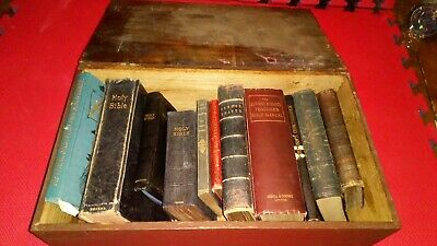 19 th Century English Antique  Boarded Bible Box with original bibles, and books