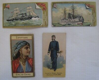 "4 Scarce 19Th C. ""Kinney Tobacco Co."" Cigarette Cards ""Illu's'd Sweet Caporal"