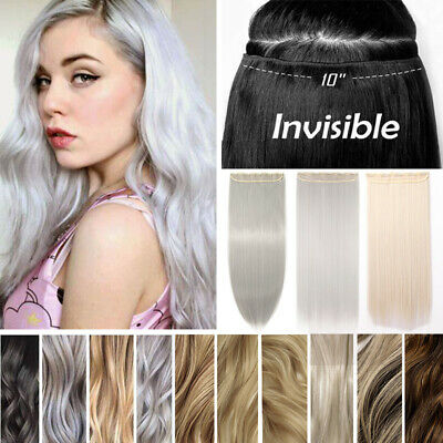 Synthetic Real Long Half Head 5 Clips On Hair Extensions Thick As Human Hair e93