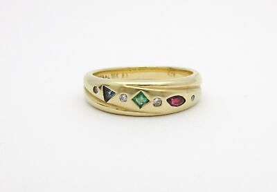 Vintage Gemstone Band Mixed Shapes 18k Yellow Gold Ruby Sapphire Emerald Ring