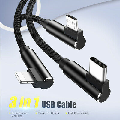 CO_ 3 in 1 Braided Elbow Micro USB Type C Charging Cable Cord for iPhone Android