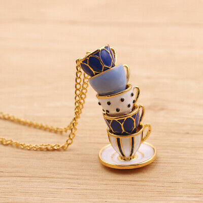 Women Fashion Hand Painted Enamel Teacup Pendant Necklace Long Chain Jewelry Hot