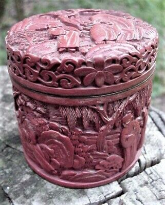 Antique Chinese Carved Red Cinnabar Lacquer Covered Box Jar Asian Oriental Old