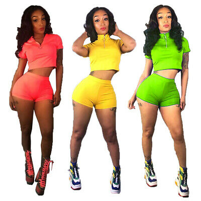 NEW Women's Stylish Short Sleeves Solid Casual Sporty Zipper Short Outfits 2pcs