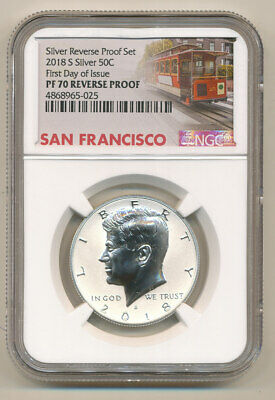 2018 S NGC PF70 First Day of Issue Reverse SILVER PROOF Kennedy Half dollar FDOI