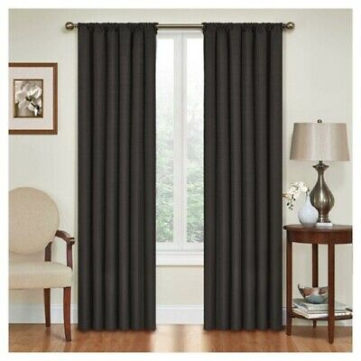 NEW Kendall Thermaback Blackout Curtain Panel Pair Black 42 x 54 inch - Eclipse