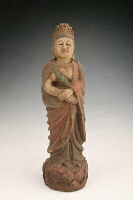 Unique Chinese Old Wood Handmade Carving Buddha Statue Spiritual Collection