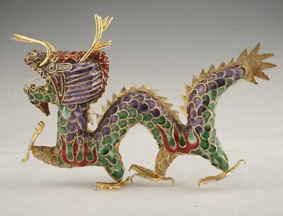 Chinese Precious Cloisonne Hand-Carved Dragon Statue Pendent Old Decorations