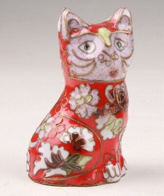 Unique Chinese Cloisonne Hand Carving Cute Cat Figurines Statue Gift Collection