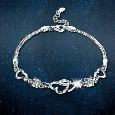 New 925 Silver Open Heart Bracelet Charms Jewellery Women Ladies Gifts UK