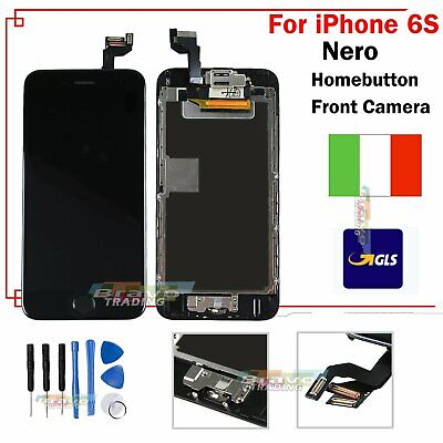 Touch Schermo Display Per Apple Iphone 6S Lcd Vetro Nero + Frame Home Button Gls