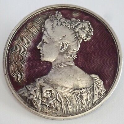 Antique Victorian Edwardian Sterling Silver Guilloche Enamel Lady Brooch