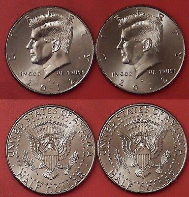 Brilliant Uncirculated 2012 P & D US Kennedy 50 Cents From Mint's Rolls
