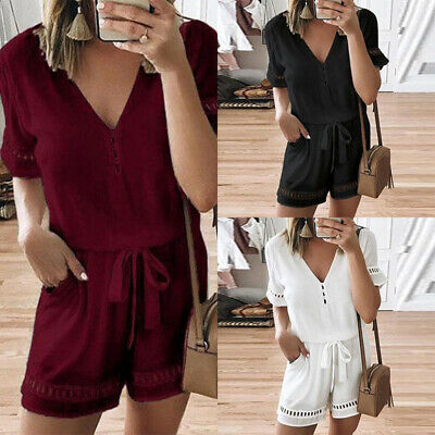 Womens Boho V Neck Romper Ladies Short Sleeve Mini Holiday Jumpsuit Playsuit