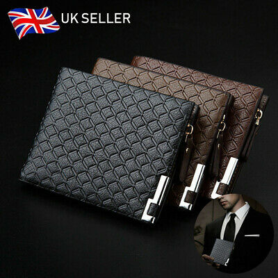 UK Mens Luxury Leather Soft Wallet Credit Card Holder Purse Black Brown With Zip