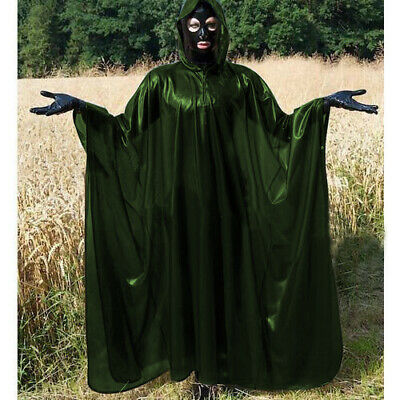 Latex Rubber Anzug Mantel Gummi Long Trench Coat Ganzanzug Metal Green S-XXL
