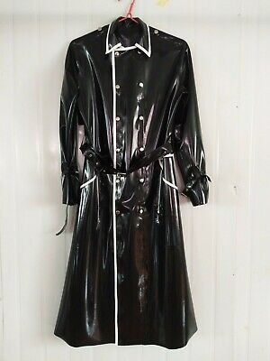 Latex Rubber Anzug Mantel Gummi Long Trench Coat Ganzanzug Black & white S-XXL