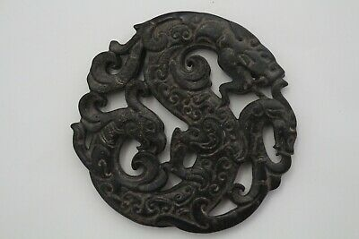 China Hongshan culture old jade hand-carved Dragon and Phoenix Amulet PendantE08